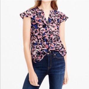 J. Crew hibiscus flutter sleeve silk top